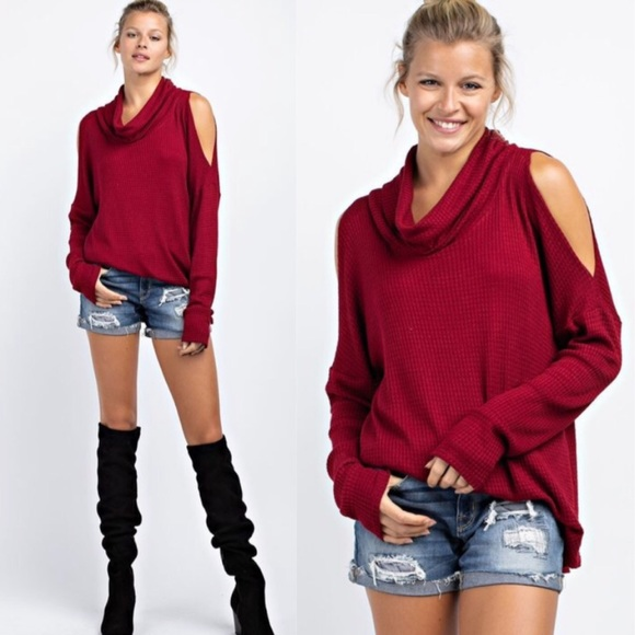 Tops - Cranberry waffle knit cold shoulder top